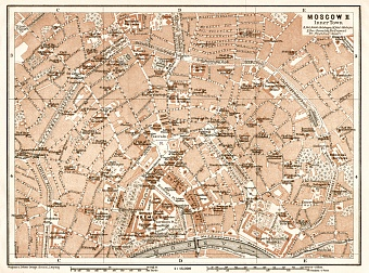 Moscow (Москва, Moskva) central part map, 1914