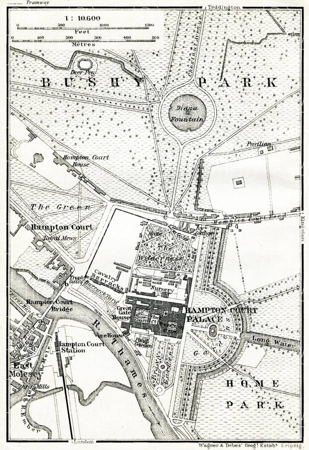 Hampton Court Palace and Bushy Park map, 1909. Use the zooming tool to explore in higher level of detail. Obtain as a quality print or high resolution image