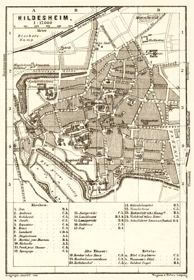 Hildesheim city map, 1887. Use the zooming tool to explore in higher level of detail. Obtain as a quality print or high resolution image