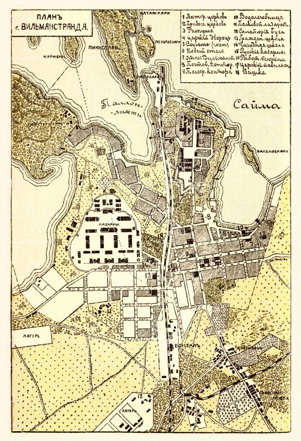 Old map of Willmanstrand Lappeenranta in 1899 Buy vintage map