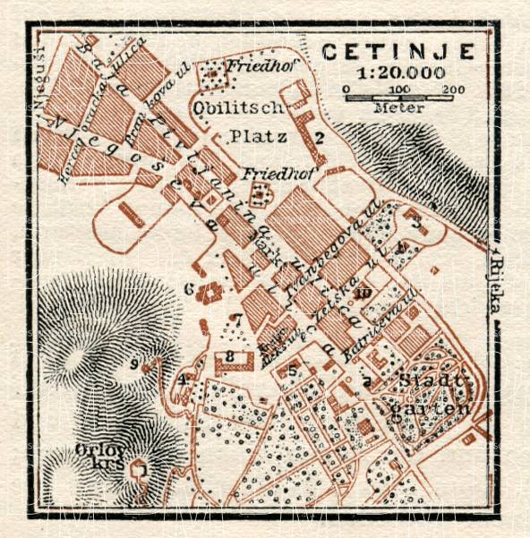 Cetinje city map, 1929. Use the zooming tool to explore in higher level of detail. Obtain as a quality print or high resolution image