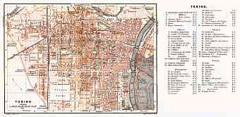 Turin (Torino) city map, 1898