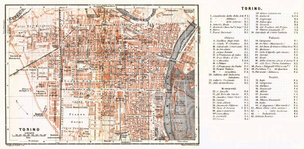 Turin (Torino) city map, 1898. Use the zooming tool to explore in higher level of detail. Obtain as a quality print or high resolution image