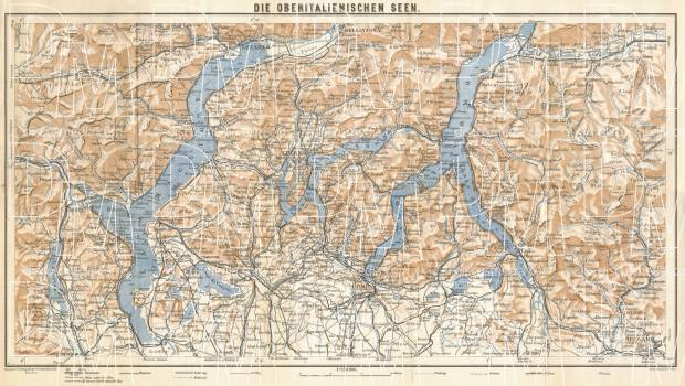 Map Of Italy Lakes Region.Old Map Of The Upper Italian Lakes In 1929 Buy Vintage Map Replica