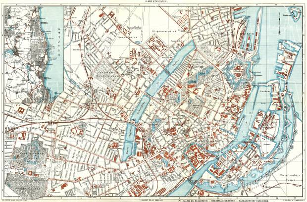 Copenhagen (Kjöbenhavn, København) city map, about 1910. Use the zooming tool to explore in higher level of detail. Obtain as a quality print or high resolution image