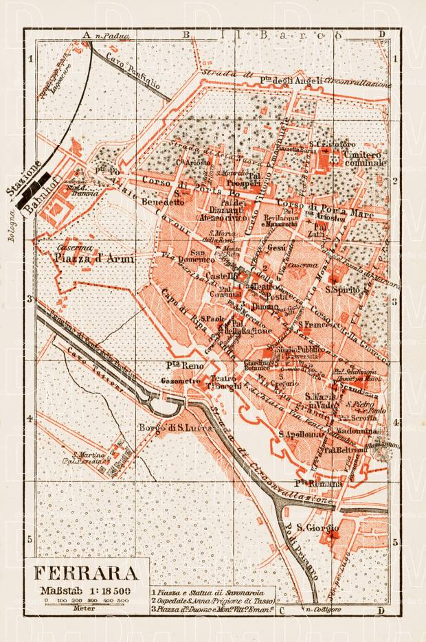 Ferrara city map, 1903. Use the zooming tool to explore in higher level of detail. Obtain as a quality print or high resolution image