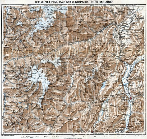 Passo della Mendola (Mendelpass), Madonna di Campiglio, Triente and Arco map, 1911. Use the zooming tool to explore in higher level of detail. Obtain as a quality print or high resolution image