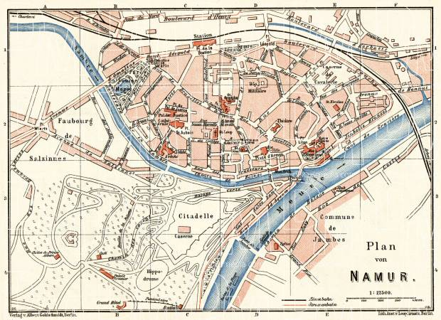 Namur city map, 1908. Use the zooming tool to explore in higher level of detail. Obtain as a quality print or high resolution image
