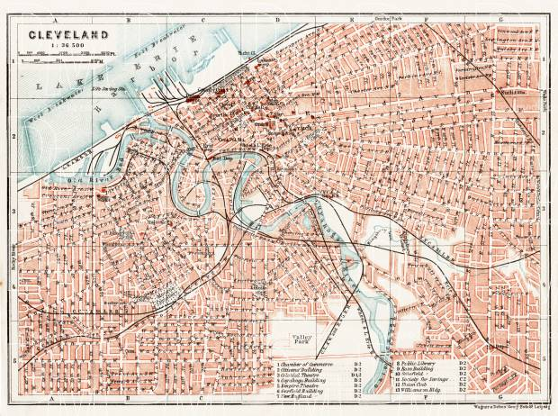 Cleveland city map, 1909. Use the zooming tool to explore in higher level of detail. Obtain as a quality print or high resolution image