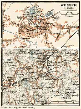 Cesis (Wenden) town plan. Environs of Cesis map, 1914