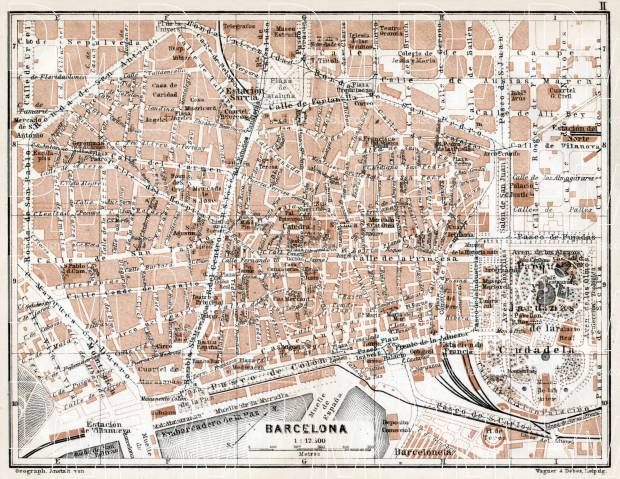 Map Of Central Spain.Barcelona Central Part Map 1913
