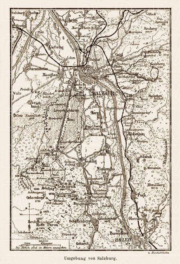 Salzburg nearer environs map, 1903. Use the zooming tool to explore in higher level of detail. Obtain as a quality print or high resolution image