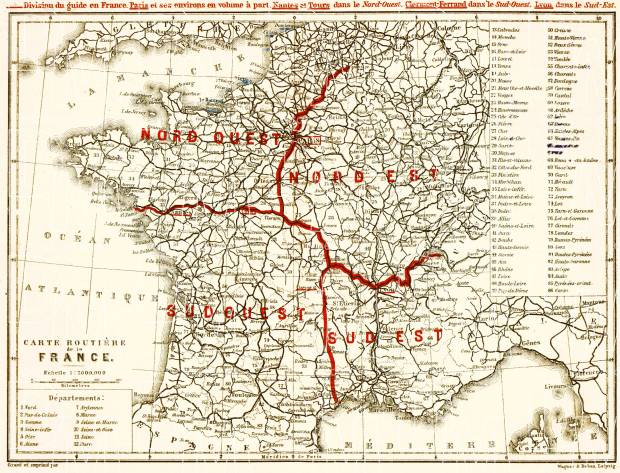 Road map of France, 1900. Use the zooming tool to explore in higher level of detail. Obtain as a quality print or high resolution image