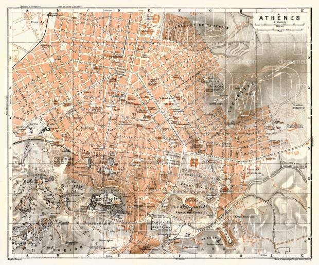 Old Map Of Athens In 1908 Buy Vintage Map Replica Poster Print Or