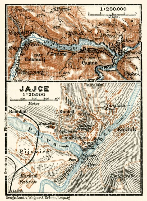Jaice town plan and environs map, 1929. Use the zooming tool to explore in higher level of detail. Obtain as a quality print or high resolution image