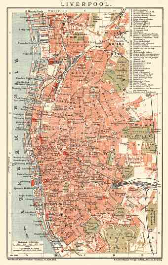 Liverpool city map, 1900