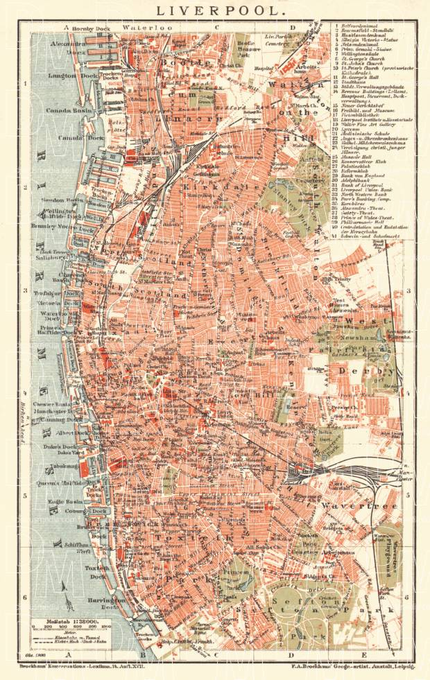 Liverpool city map, 1900. Use the zooming tool to explore in higher level of detail. Obtain as a quality print or high resolution image