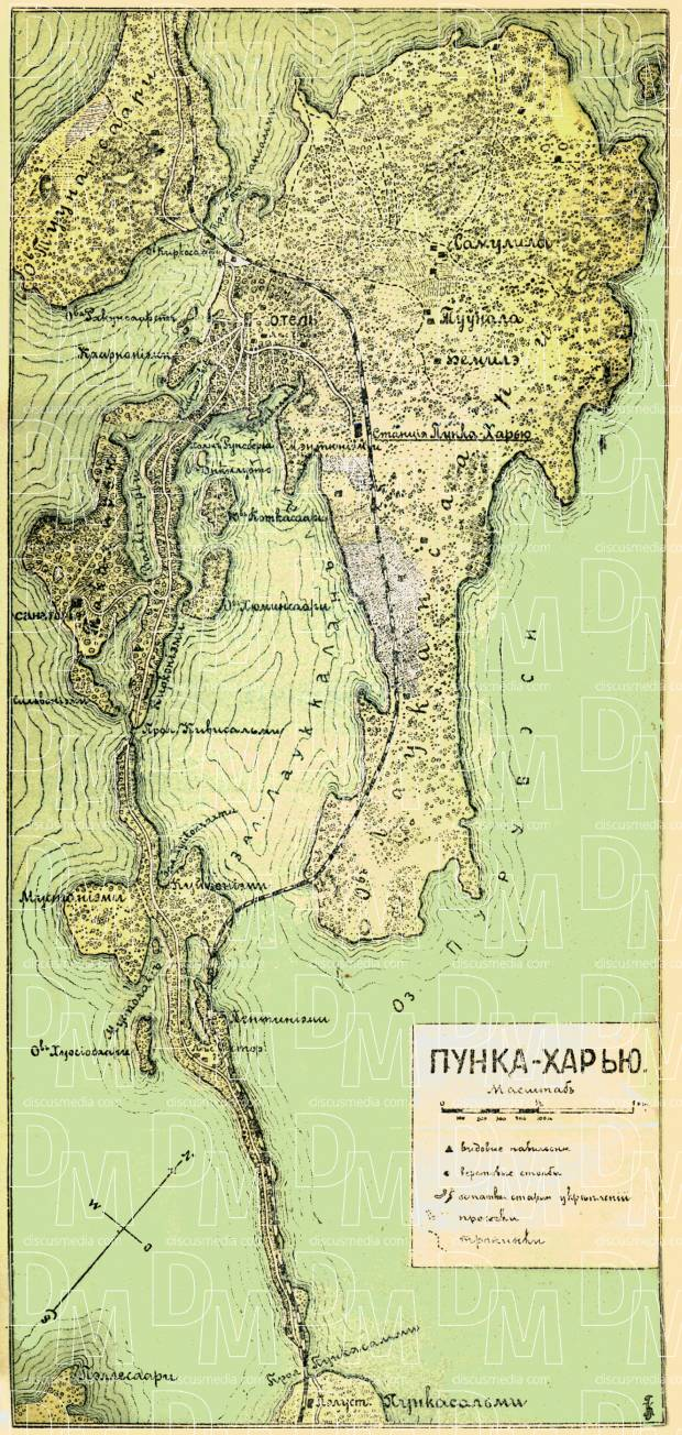 Punkaharju map (in Russian), 1889. Use the zooming tool to explore in higher level of detail. Obtain as a quality print or high resolution image