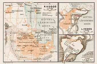 Rhodes town plan. With Lindos plan (inset), 1914