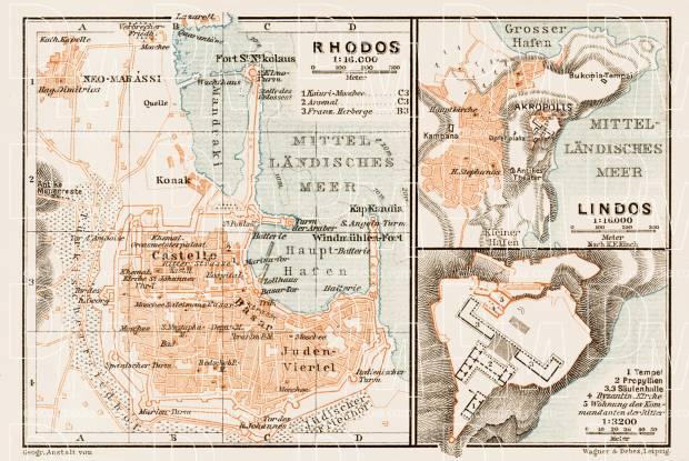 Old map of Rhodes and Lindos in 1914 Buy vintage map replica poster