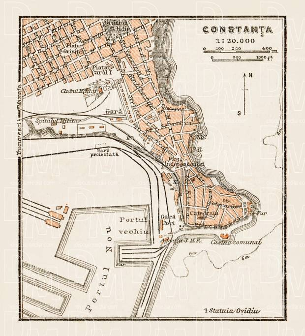 Old map of Constana in 1914 Buy vintage map replica poster print