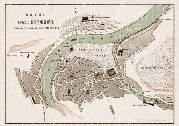 Borjom (ბორჯომი, Borjomi), town plan, 1912. Use the zooming tool to explore in higher level of detail. Obtain as a quality print or high resolution image
