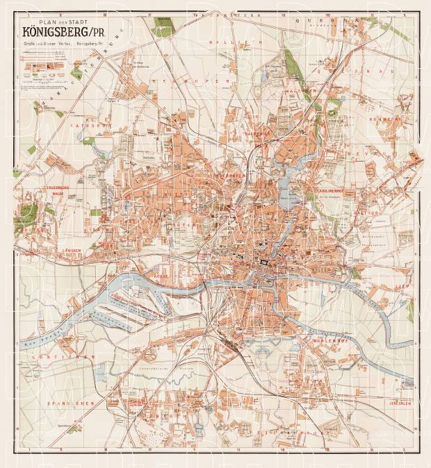 Königsberg (now Kaliningrad) city map, 1938. Use the zooming tool to explore in higher level of detail. Obtain as a quality print or high resolution image