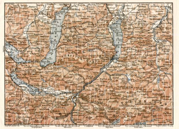 North Salzkammergut map, 1906. Use the zooming tool to explore in higher level of detail. Obtain as a quality print or high resolution image