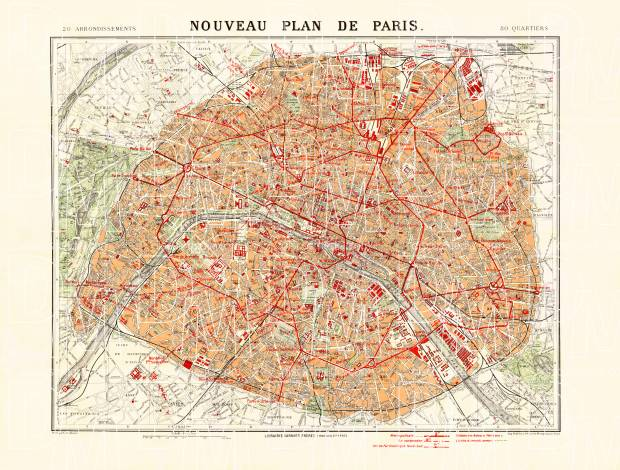 Paris city map (New Plan of Paris), 1912. Use the zooming tool to explore in higher level of detail. Obtain as a quality print or high resolution image