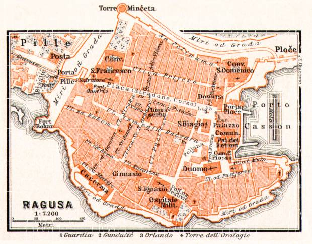 Ragusa (Dubrovnik) city map, 1911. Use the zooming tool to explore in higher level of detail. Obtain as a quality print or high resolution image