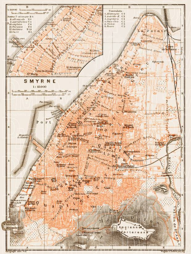 Smyrna (إزمير, İzmir, Smyrne) city map, 1914. Use the zooming tool to explore in higher level of detail. Obtain as a quality print or high resolution image