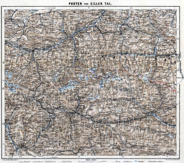 Puster and Zill Valleys map, 1911. Use the zooming tool to explore in higher level of detail. Obtain as a quality print or high resolution image