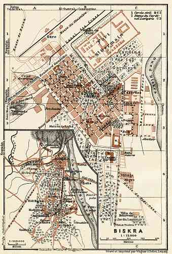 Biskra (بسكرة), city map. Map of the environs of Biskra, 1909.