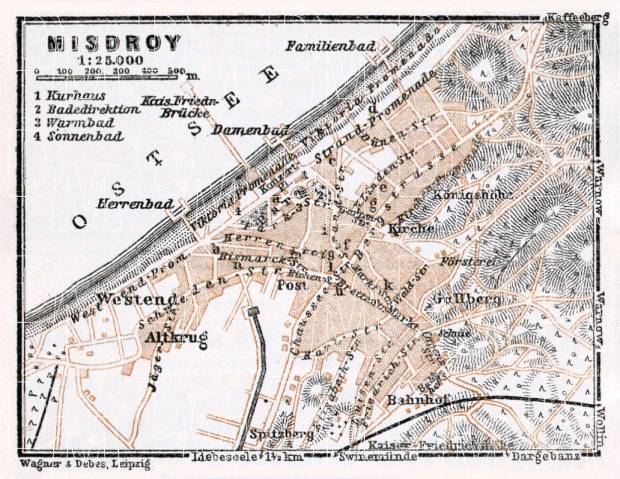 Misdroy (Miedzyzdroje) city map, 1911. Use the zooming tool to explore in higher level of detail. Obtain as a quality print or high resolution image