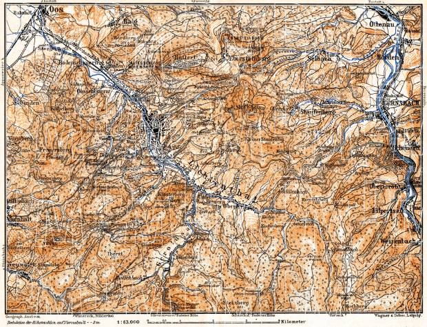 Schwarzwald (the Black Forest). Map of the environs of Baden: Oos - Lichtenthal, 1905. Use the zooming tool to explore in higher level of detail. Obtain as a quality print or high resolution image