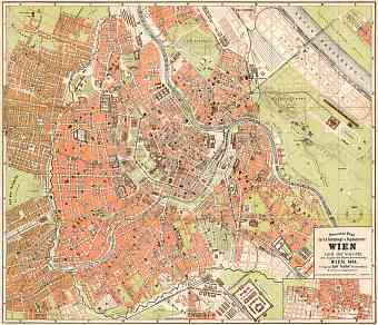 Vienna (Wien) city map, 1884