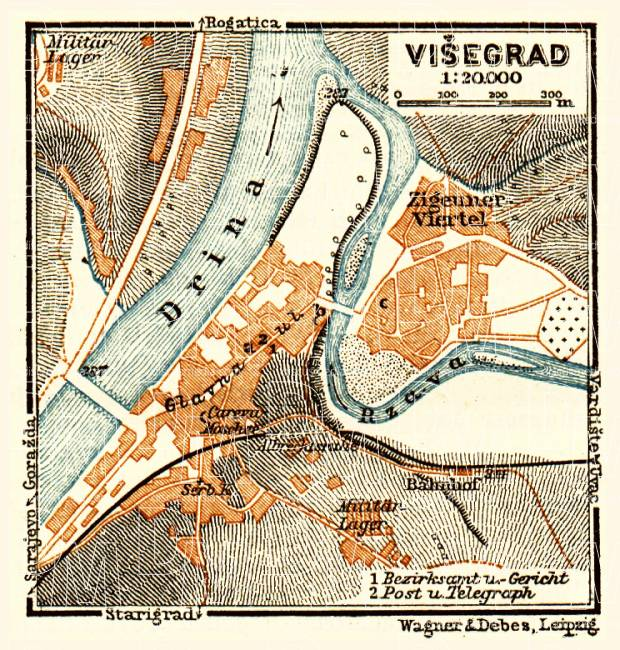 Višegrad city map, 1911. Use the zooming tool to explore in higher level of detail. Obtain as a quality print or high resolution image