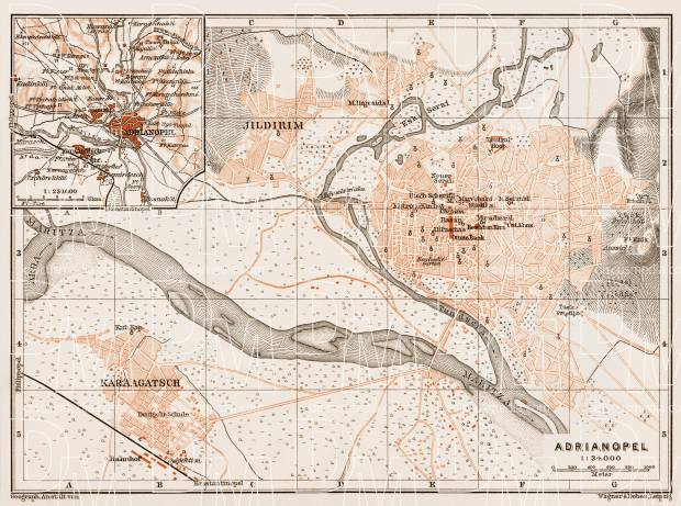 Old map of Adrianople Edirne in 1914 Buy vintage map replica