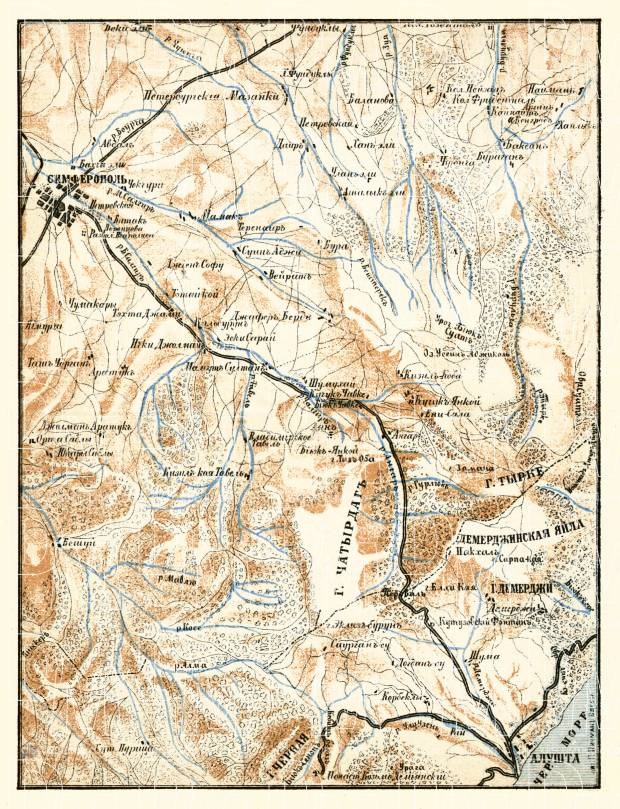 Old map of South Crimea between Simferopol and Alushta in 1905 Buy