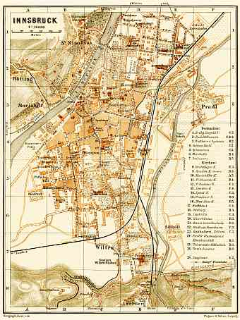Innsbruck city map, 1906