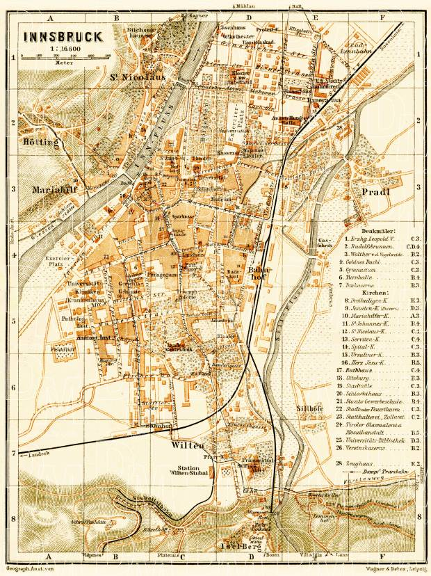 Innsbruck city map, 1906. Use the zooming tool to explore in higher level of detail. Obtain as a quality print or high resolution image