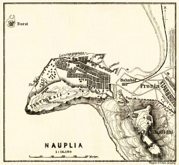 Nafplion (Nauplia) town plan, 1908. Use the zooming tool to explore in higher level of detail. Obtain as a quality print or high resolution image