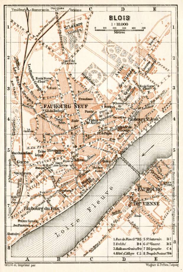 Blois city map, 1909. Use the zooming tool to explore in higher level of detail. Obtain as a quality print or high resolution image