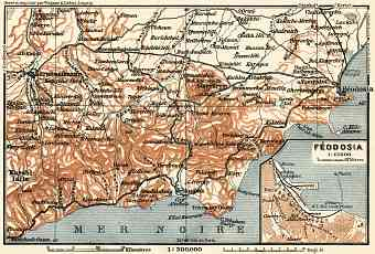Theodosia (Ѳеодосія) town plan, with South-eastern Crimea map, 1914