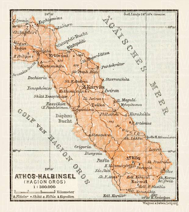 Athos Peninsula (Hagion Oros, Ἁγίου Ὄρους) map, 1914. Use the zooming tool to explore in higher level of detail. Obtain as a quality print or high resolution image