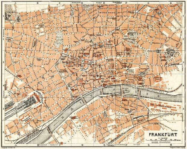 Frankfurt (Frankfurt-am-Main) city map, 1905. Use the zooming tool to explore in higher level of detail. Obtain as a quality print or high resolution image