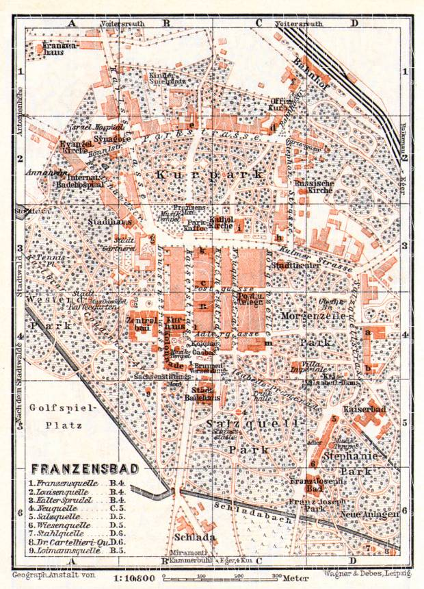 Franzensbad (Františkovy Lázně) town plan, 1913. Use the zooming tool to explore in higher level of detail. Obtain as a quality print or high resolution image