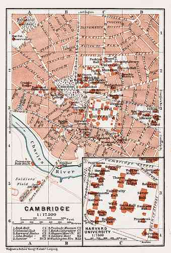 Cambridge (Massachusetts) city map, 1909