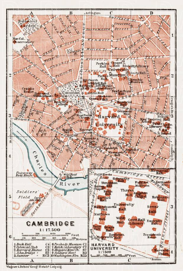 Cambridge (Massachusetts) city map, 1909. Use the zooming tool to explore in higher level of detail. Obtain as a quality print or high resolution image