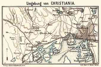 Christiania (Oslo) and environs map, 1913
